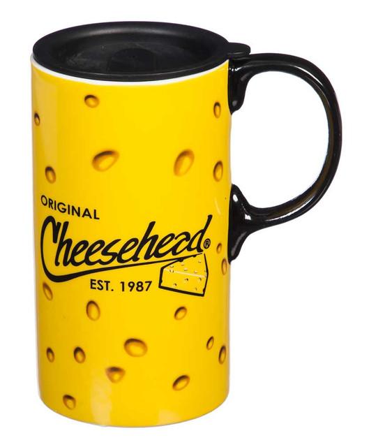 Original Cheesehead Ceramic Tall Boy Travel Cup w/ Gift Box, 20 oz. 3TBT5070 - Wisconsin Harley-Davidson