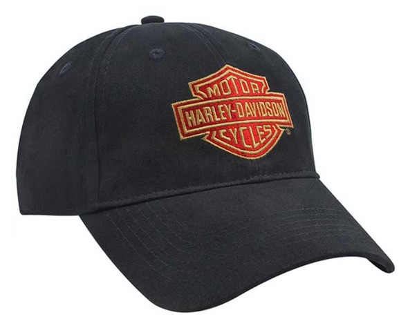 Harley-Davidson Mens Embroidered Bar & Shield Cotton Baseball Cap, Black BC34630 - Wisconsin Harley-Davidson