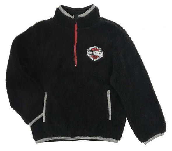 Harley-Davidson Big Girls' 1/4-Zip Sherpa Fleece Pullover - Black 6544917 - Wisconsin Harley-Davidson