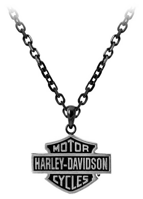 Harley-Davidson Men's Black Edge Bar & Shield Emblem Chain Necklace HSN0054-24 - Wisconsin Harley-Davidson