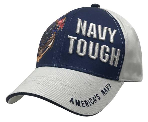 American Mills Embroidered Navy Tough Adjustable Baseball Cap- Gray & Navy FH-14 - Wisconsin Harley-Davidson