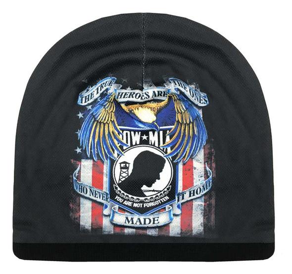 American Mills Distressed POW-MIA Graphic Knit Beanie Cap w/ Black Fleece ER-8 - Wisconsin Harley-Davidson