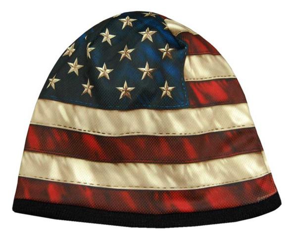 American Mills Vintage American Flag Knit Beanie Cap w/ Black Fleece AFB-01 - Wisconsin Harley-Davidson