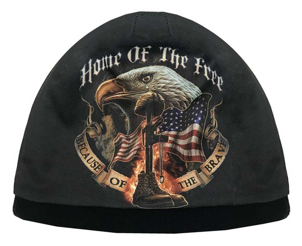 American Mills Home of the Free Flag & Eagle Knit Beanie Cap - Black ER-11 - Wisconsin Harley-Davidson