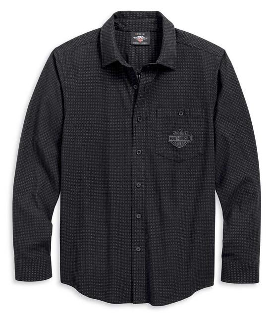 Harley-Davidson Men's B&S Textured Long Sleeve Shirt, Black 96121-20VM - Wisconsin Harley-Davidson