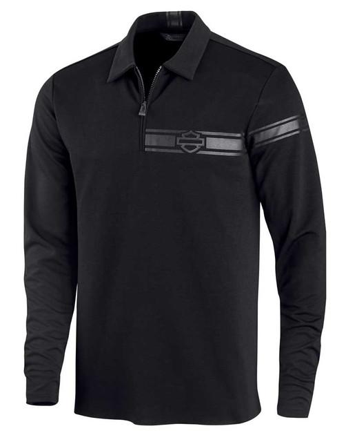 Harley-Davidson Men's 1/4-Zip Polo Long Sleeve Casual Shirt, Black 96144-20VM - Wisconsin Harley-Davidson