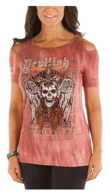 Liberty Wear Women's Devilish Bling Cold Shoulder Short Sleeve Tee, Burgundy - Wisconsin Harley-Davidson