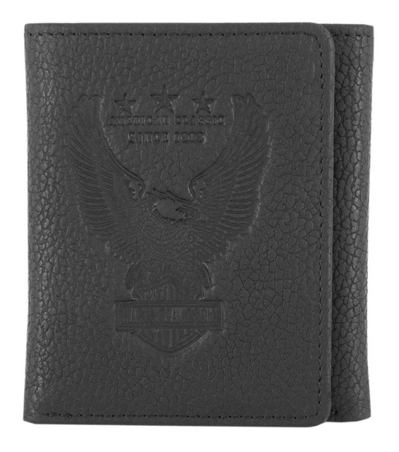 Harley-Davidson Men's Liberty Eagle Tri-Fold Leather Wallet w/ RFID HDMWA11670 - Wisconsin Harley-Davidson