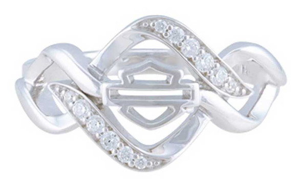 Harley-Davidson Womens Interlock White Bling Stone Ring, Sterling Silver HDR0537 - Wisconsin Harley-Davidson