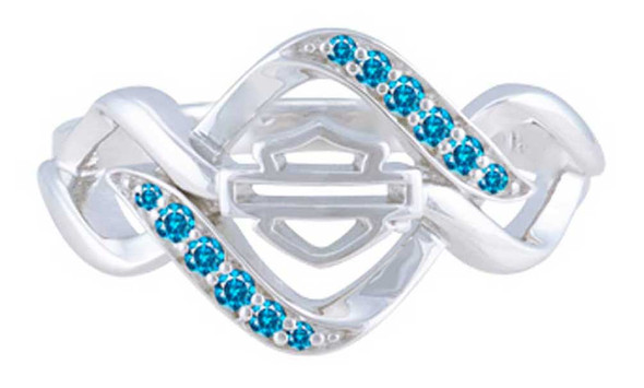 Harley-Davidson Womens Interlock Blue Bling Stone Ring, Sterling Silver HDR0538 - Wisconsin Harley-Davidson