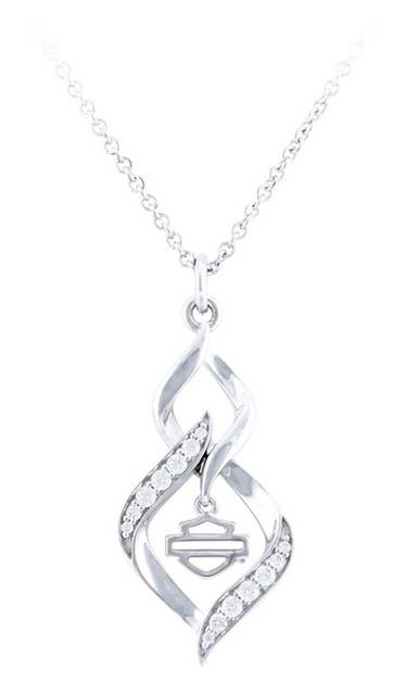Harley-Davidson Women's Interlock White Bling Stone Necklace, Silver HDN0464-16 - Wisconsin Harley-Davidson