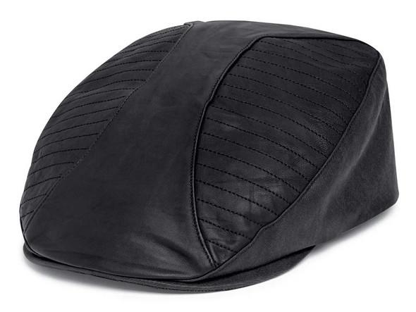 Harley-Davidson Men's Lambskin Leather & Coated Twill Ivy Cap - Black 97612-20VM - Wisconsin Harley-Davidson