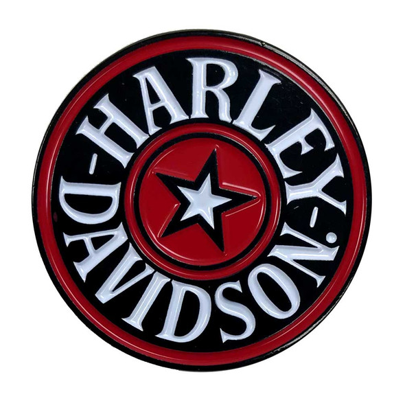 Harley-Davidson 1.25 in. H-D Red Star Circle Pin, Black & Red Finishes 8009298 - Wisconsin Harley-Davidson