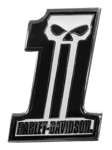 Harley-Davidson 1.25 in. #1 Skull Dark Custom Pin, Black & White Finish 8009229 - Wisconsin Harley-Davidson