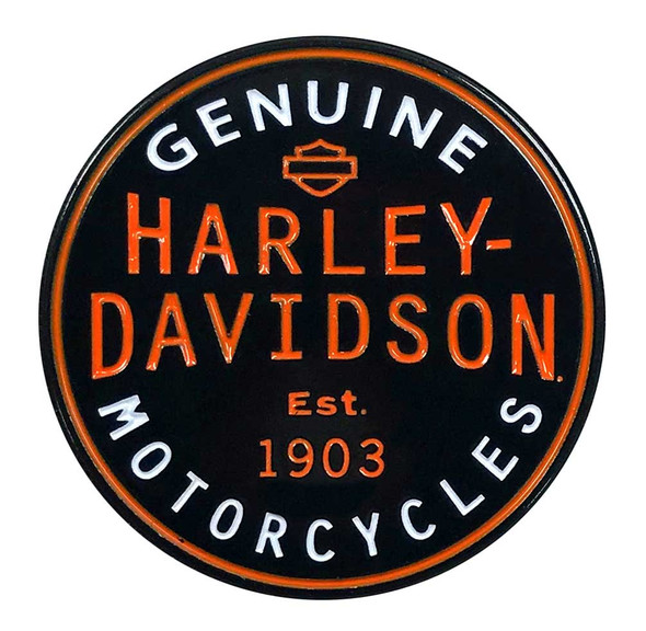 Harley-Davidson 1.25 in. Genuine Motorcycles Pin, Black & Orange Finish 8009236 - Wisconsin Harley-Davidson