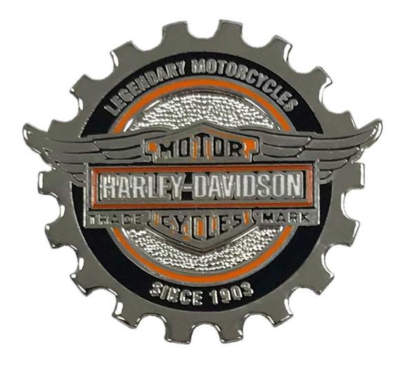Harley-Davidson 1.25 in. Bar & Shield Winged Gear Pin, Silver Finish 8009243 - Wisconsin Harley-Davidson