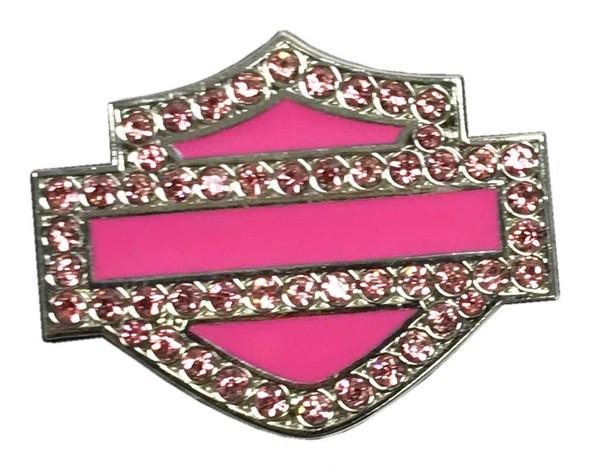Harley-Davidson 1.25 in. Rhinestone Bar & Shield Pin, Hot Pink Finish 8009182 - Wisconsin Harley-Davidson