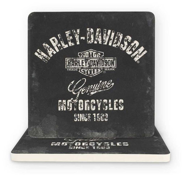 Harley-Davidson Premium B&S Sandstone Coaster Set, Set of Two - 4 inch CS34375 - Wisconsin Harley-Davidson