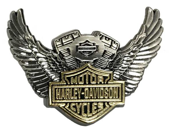 Harley-Davidson 1.5 in. Bar & Shield Winged Motor Pin, Antique Finish 8009281 - Wisconsin Harley-Davidson