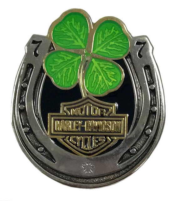 Harley-Davidson 1.25 in. Lucky Clover Horseshoe Pin, Antique Finish 8009212 - Wisconsin Harley-Davidson