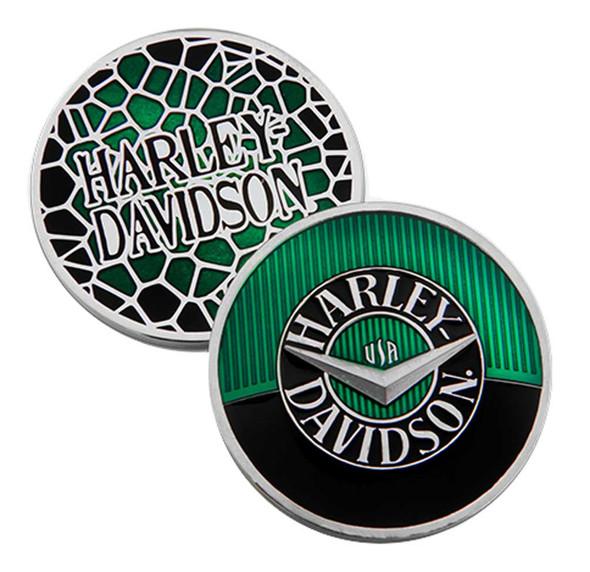 Harley-Davidson Green Tank H-D Challenge Coin, 1.75 inch. Green & Black 8009007 - Wisconsin Harley-Davidson