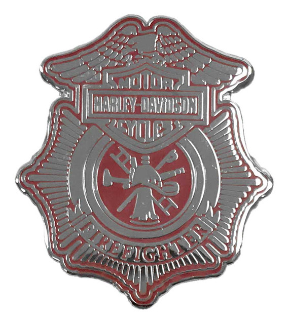 Harley-Davidson 1.25 in. Firefighter Shield Pin, Shiny Silver Finish 8009137 - Wisconsin Harley-Davidson