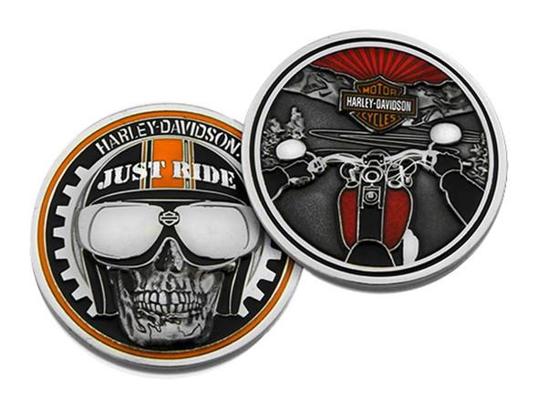Harley-Davidson Just Ride Biker Skull Challenge Coin, 1.75 inch. 8003371 - Wisconsin Harley-Davidson