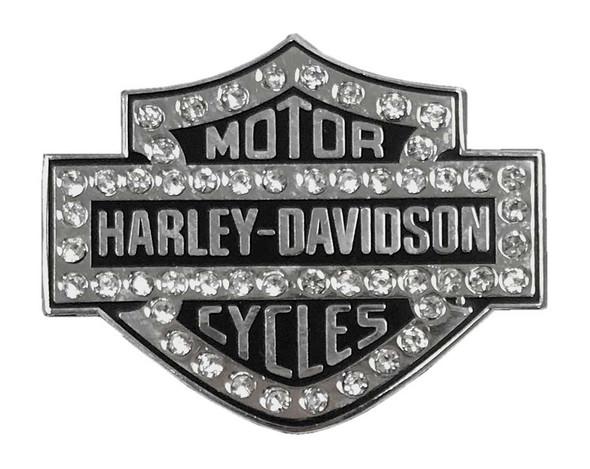 Harley-Davidson 1.25 in. Rhinestone Bar & Shield Pin, Silver Finish 8009205 - Wisconsin Harley-Davidson