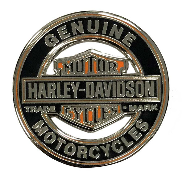Harley-Davidson 1.25in. Bar & Shield Trademark Cutout Pin, Silver Finish 8009250 - Wisconsin Harley-Davidson