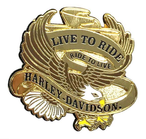 Harley-Davidson 1.25 in. Live to Ride Eagle Pin, Shiny Gold Finish 8009267 - Wisconsin Harley-Davidson