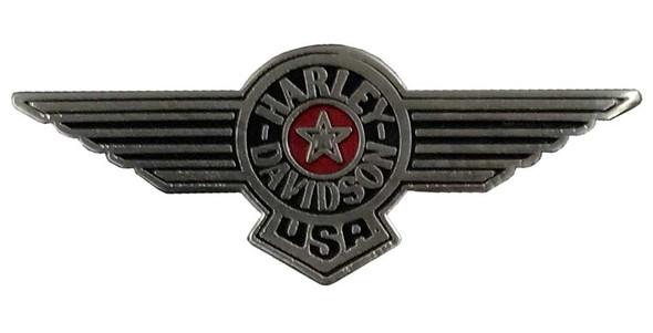 Harley-Davidson 1.25 in. USA Aviator Wings Pin, Antique Nickel Finish 8009076 - Wisconsin Harley-Davidson
