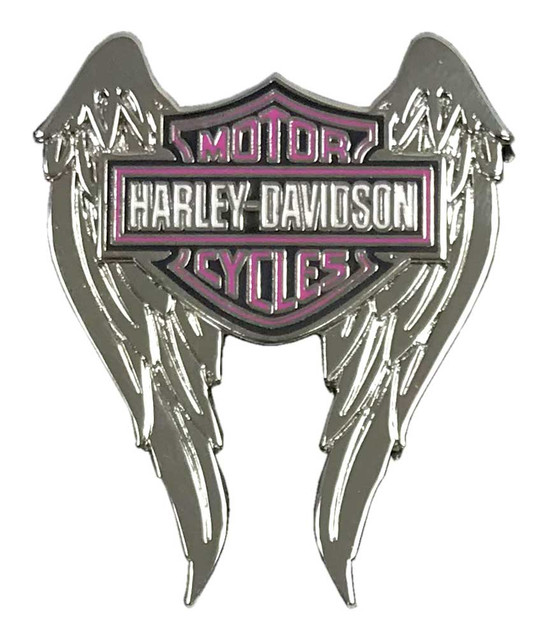 Harley-Davidson 1.5 in Pink Bar & Shield Winged Pin, Shiny Silver Finish 8009175 - Wisconsin Harley-Davidson