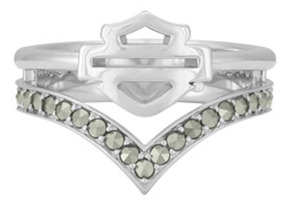Harley-Davidson Women's Chevron Marcasite Stone Ring, Sterling Silver HDR0540 - Wisconsin Harley-Davidson