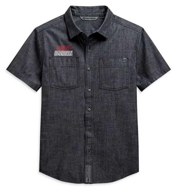 Harley-Davidson Men's Chambray Slim Fit Short Sleeve Woven Shirt 99088-20VH - Wisconsin Harley-Davidson
