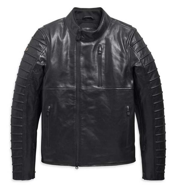 Harley-Davidson Mens Ozello Perforated Slim Fit Leather Jacket, Black 98006-20VM - Wisconsin Harley-Davidson