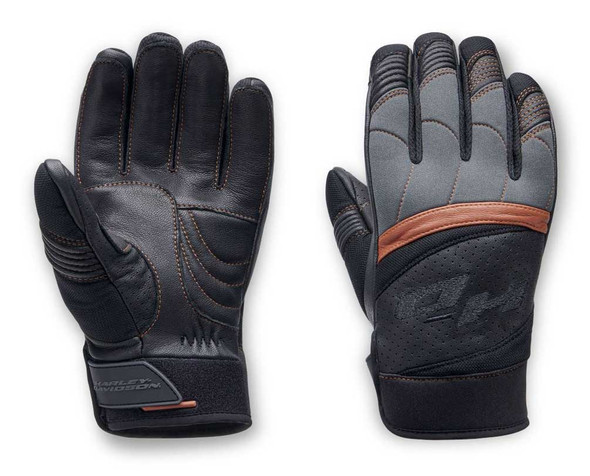 Harley-Davidson Men's Killian Mixed Media Full-Finger Gloves, Black 98151-20VM - Wisconsin Harley-Davidson