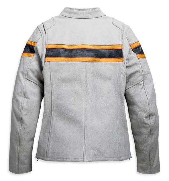 Harley-Davidson Women's Sidari Striped Vented Leather Jacket  - Gray 98009-20VW - Wisconsin Harley-Davidson