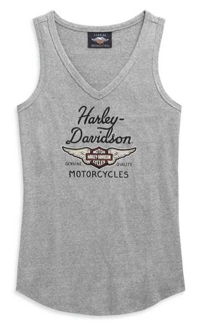 Harley-Davidson Women's Winged Logo V-Neck Sleeveless Tank Top, Gray 99123-20VW - Wisconsin Harley-Davidson