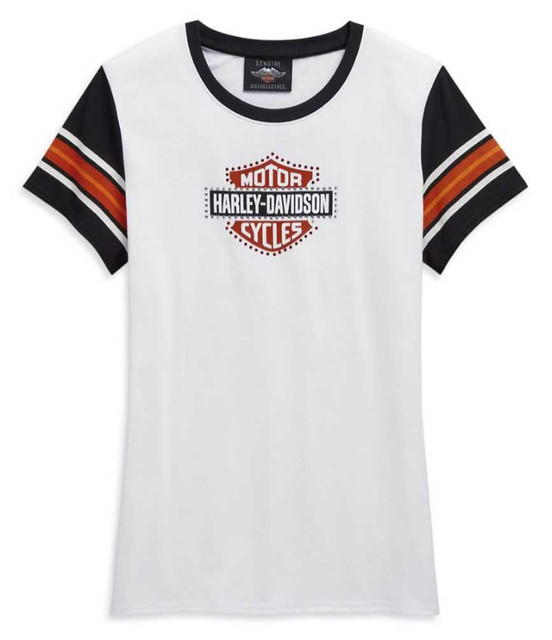 Harley-Davidson Women's Embellished Logo Short Sleeve Tee - White 99121-20VW - Wisconsin Harley-Davidson