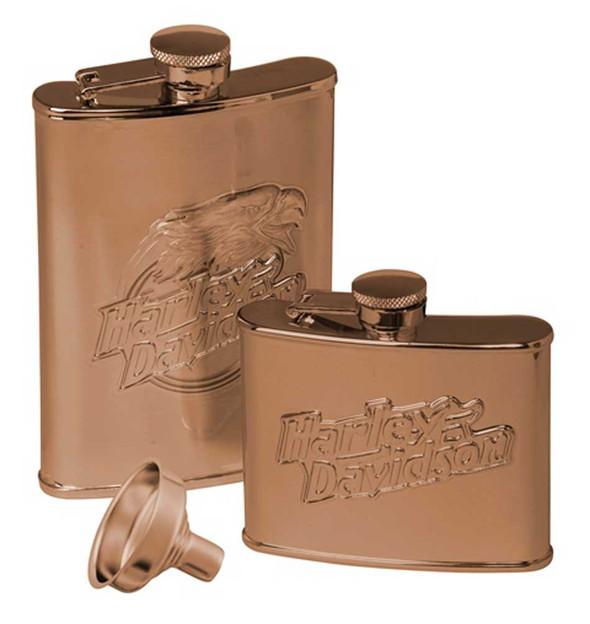 Harley-Davidson Eagle Flask Set, Set of Two 7 oz. & 4 oz. - Stainless Steel - Wisconsin Harley-Davidson