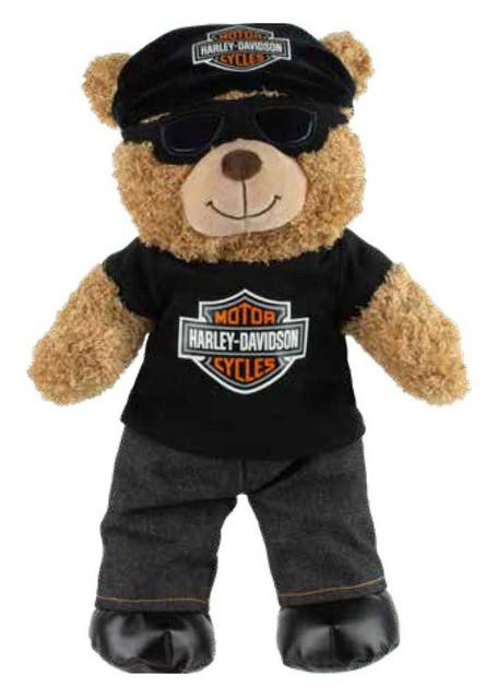 "Harley-Davidson 16"" Curly Huggable Plush Biker Bear w/ Removable Goggles 9950027 - Wisconsin Harley-Davidson"