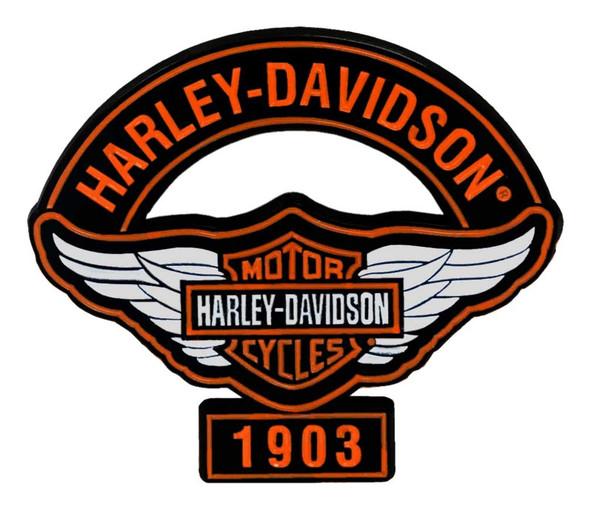 Harley-Davidson 1.75 in. Winged B&S Logo Stock Metal Pin, Shiny Black Finish - Wisconsin Harley-Davidson