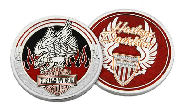 Harley-Davidson Flaming Bar & Shield Eagle Metal Challenge Coin, 1.75 in. - Red - Wisconsin Harley-Davidson