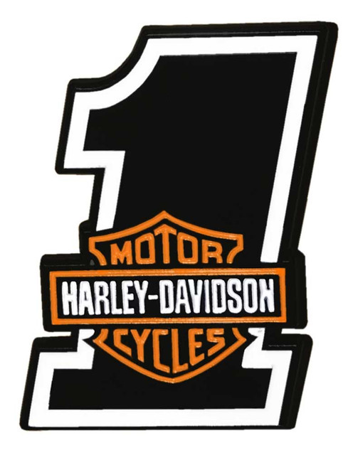 Harley-Davidson 1.25 in. #1 Bar & Shield Logo Metal Pin, Shiny Black Finish - Wisconsin Harley-Davidson