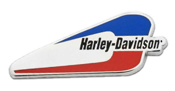 Harley-Davidson 1.25 in. Red & Blue Gas Tank Pin, Shiny Silver Nickel Finish - Wisconsin Harley-Davidson