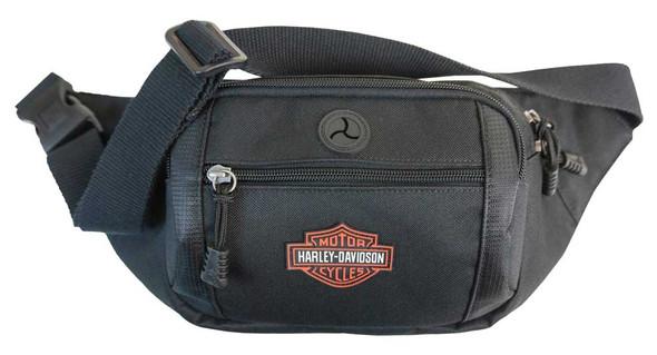 Harley-Davidson Orange Patch Bar & Shield Logo Crossbody / Waistpack Bag - Black - Wisconsin Harley-Davidson