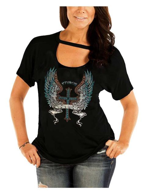 Liberty Wear Women's Sturgis Angel Winged Embellished Short Sleeve Tee - Black - Wisconsin Harley-Davidson