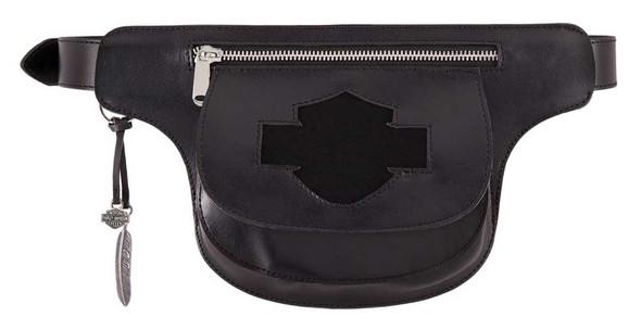 Harley-Davidson Women's Lita Genuine Leather Belt w/ Removable Hip Bag, Black - Wisconsin Harley-Davidson