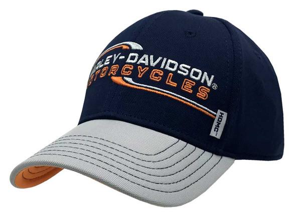 Harley-Davidson Men's Lineation Embroidered Adjustable Baseball Cap, Navy & Gray - Wisconsin Harley-Davidson