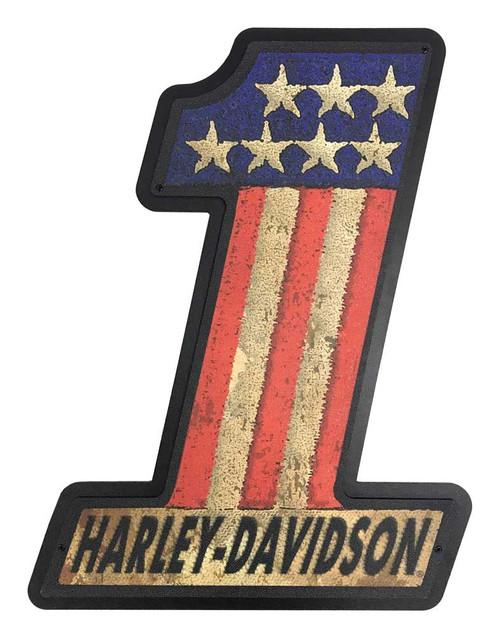 Harley-Davidson #1 RWB Layered Vintage Patch Hanging Sign, Black 22 x 30 inch - Wisconsin Harley-Davidson